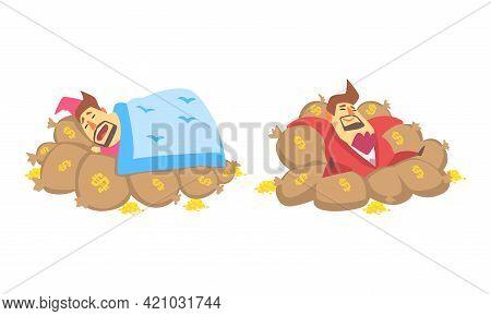 Funny Rich Millionaire Set, Fat Businessman Character Sleeping On Money Sacks Cartoon Vector Illustr
