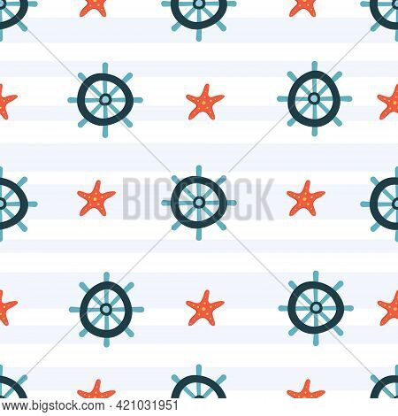 Seamless Vector Sea Pattern. Helm Or Ship's Wheel And Starfish. Summer Concept. Hand Drawn Elements.