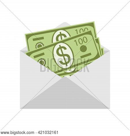 Money In An Envelope Isolated On White Background Close-up. Open Envelope With Dollars Inside. Salar