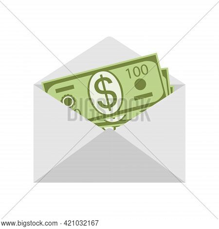 Dollars In An Envelope. Money In A Mail Envelope Isolated On A White Background. Salary In An Envelo