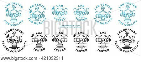 Concept For Product Packaging. Labeling - Lab Tested. The Icon Of A Doctor Or Laboratory Assistant I