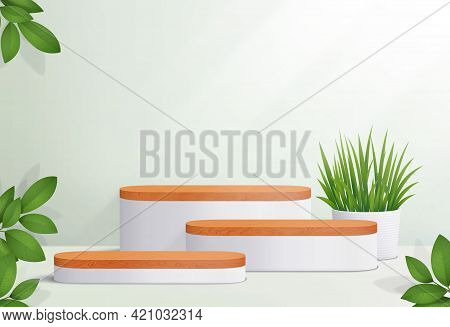 Abstract Minimal Scene With Geometric Platforms. Wood  Podium In White Background For Cosmetic Produ