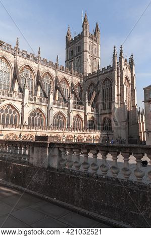 Exterior Of The Abbey Church Of Saint Peter And Saint Paul, Bath, Commonly Known As Bath Abbey. Some