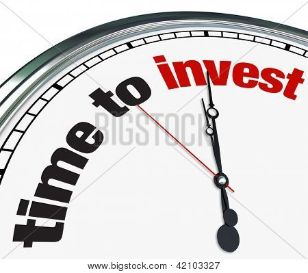An ornate clock with the words Time to Invest on its face poster