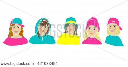 American Teens Black Person Girl. Big Set. Beautiful Women Face Vector Illustration. Isolated Flat V