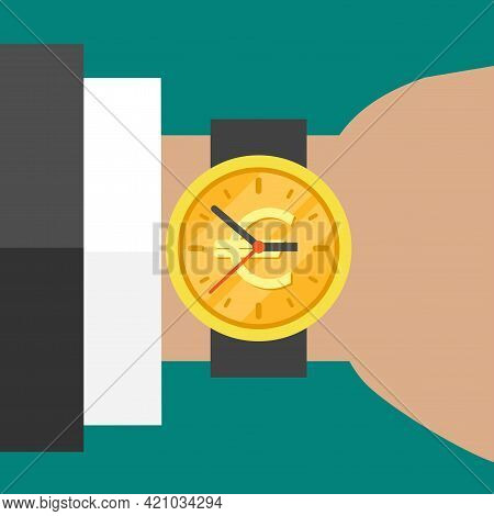Hand With Golden Hand Watch On Wrist With Euro Sign Isolated On Turquoise Background. Fast Time Stop