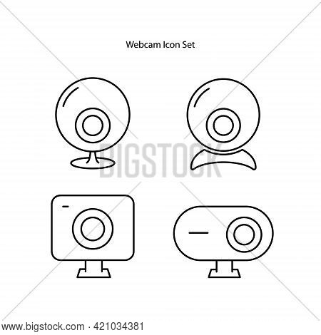 Webcam Icons Set Isolated On White Background. Webcam Icon Thin Line Outline Linear Webcam Symbol Fo