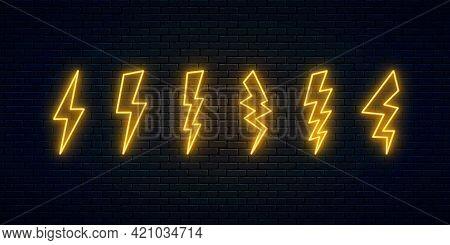 Six Neon Lightning Bolt Set. High-voltage Thunderbolt Neon Symbols. Thunder And Electricity Sign