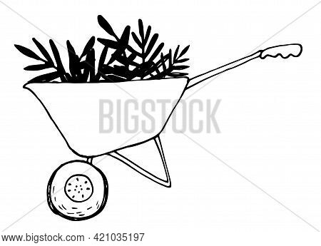 Agriculture Symbol. Vector Isolated Outline Drawing. Natural Farming.vector Garden Wheelbarrow With