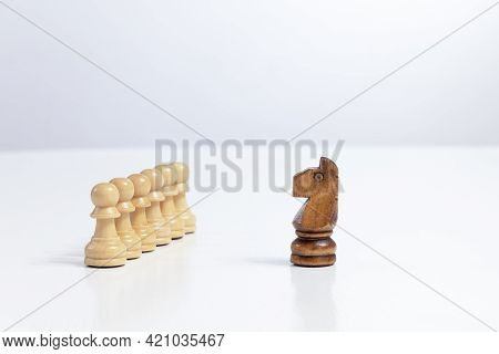 Chess Piece Strategy Planning And Competition Leader And Success Business Competition Concept Copy S