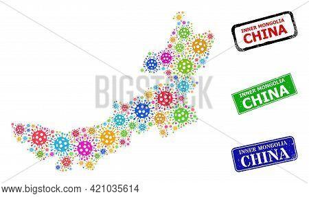 Vector Coronavirus Mosaic Inner Mongolia Map, And Grunge Inner Mongolia China Seal Stamps. Vector Mu