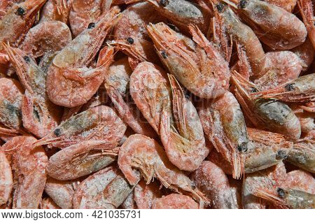 Close-up Of Frozen Shrimps. Uncooked And Unpeeled Seafood Background. Boiled And Frozen Shrimps.
