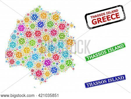 Vector Cell Mosaic Thassos Island Map, And Grunge Thassos Island Seals. Vector Colorful Thassos Isla