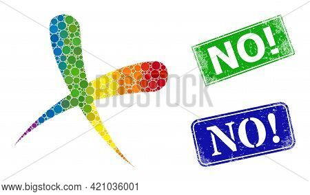 Spectrum Vibrant Gradiented Circle Collage Cancel, And No Exclamation Dirty Framed Rectangle Stamp S