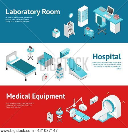 Hospital Medical Laboratory Equipment 3 Horizontal Banners Set With Text And Isometric Pictograms Ab