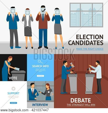 Political Election Candidates Promises Debates And Interview Information Online 4 Flat Banners Compo
