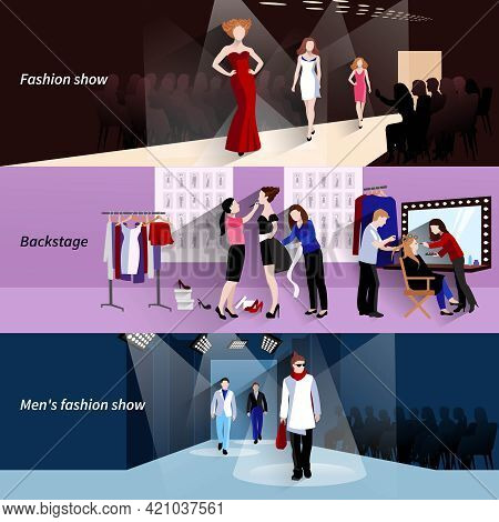 Fashion Model Horizontal Banner Set With Flat Show Backstage Elements Isolated Vector Illustration