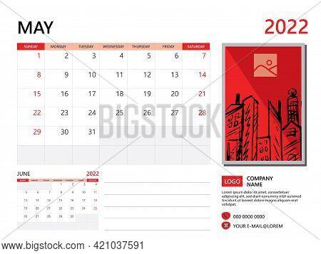 Calendar Planner 2022 And Set Of 12 Months, May 2022 Template, Week Start On Sunday, Desk Calendar 2