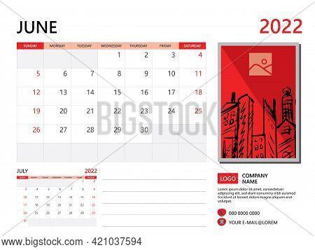 Calendar Planner 2022 And Set Of 12 Months, June 2022 Template, Week Start On Sunday, Desk Calendar