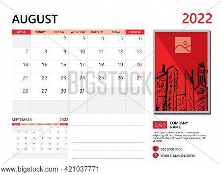 Calendar Planner 2022 And Set Of 12 Months, August 2022 Template, Week Start On Sunday, Desk Calenda
