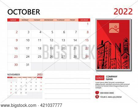 Calendar Planner 2022 And Set Of 12 Months, October 2022 Template, Week Start On Sunday, Desk Calend