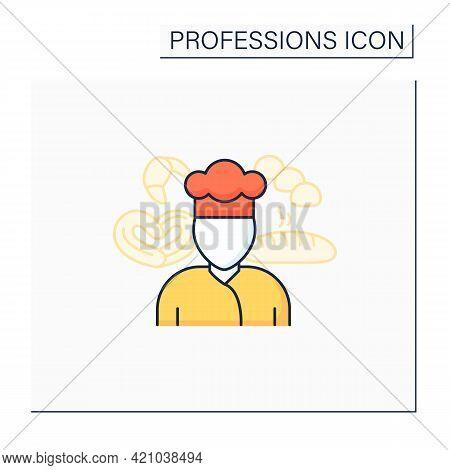 Baker Color Icon. Man Bakes Bread, Cakes, Buns. Special Uniform. Important Job. Professions Concept.