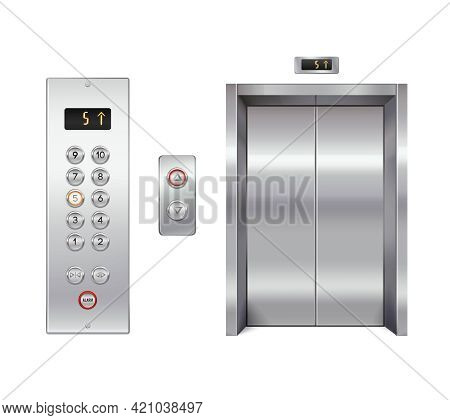 Elevator Design Set With Closed Doors And Button Panel Isolated Vector Illustration