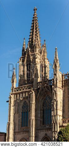 Spire Of The Cathedral Of The Holy Cross And Saint Eulalia In Barri Gothic Quarter In Barcelona, Cat