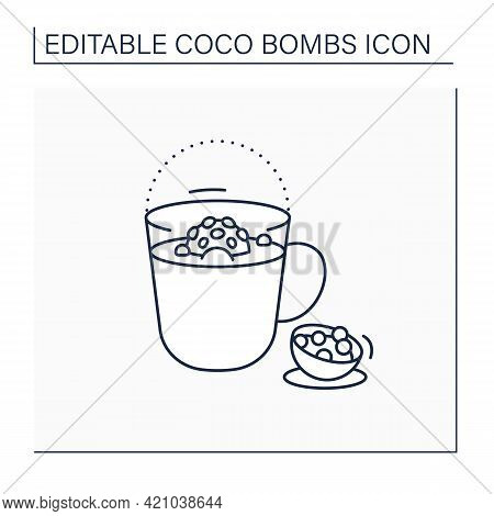 Coco Bomb Line Icon. Delicious Dessert. Cute Ball Of Chocolate With Marshmallows Filling. Melted Ins