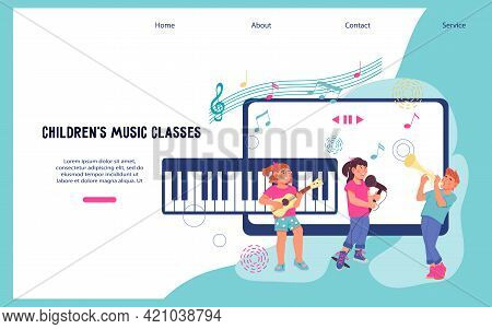 Online Musical Education For Children Website Template. Video Tutorials On Learning To Play Musical