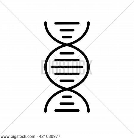 Dna Helix Or Chromosome Black Icon Design Isolated On White Background. Medical Research Concept. Sy