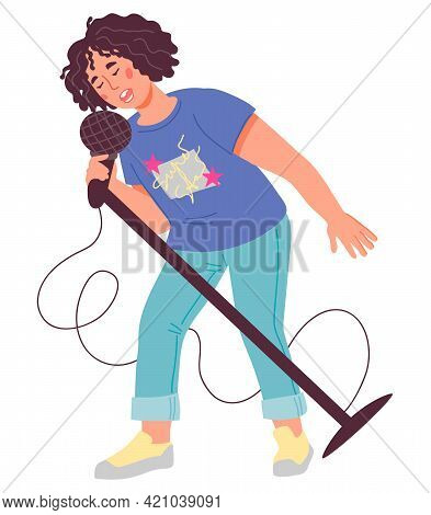 Cute Child Singer, Flat Vector Isolated On White Background. Portrait Of School Age Boy Singing In M