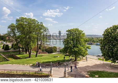 Belgrade, Serbia - May 2, 2021: Belgrade Waterfront Residences And Business Buildings Under Construc