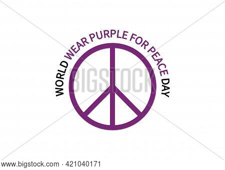 World Wear Purple For Peace Day. Logo Round Icon. Symbol Suitable For Banner, Poster, Greeting Card,