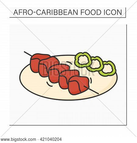Suya Color Icon. Meat Skewer Barbecued. Traditional Dish With Garnish.afro-caribbean Food.local Food