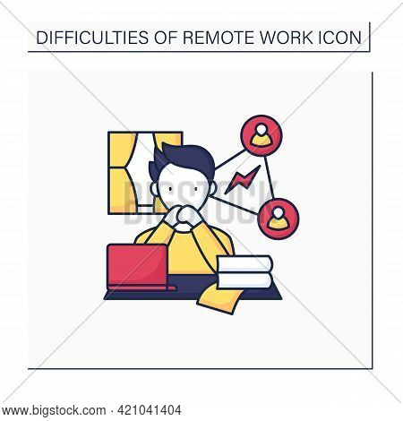 Remote Work Color Icon. Collaboration, Communication Issues. Inability To Fast Communicate.career Di