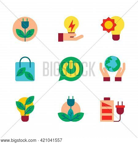 Vector Illustration Of Energy Icons. Solar Panels And Electric Thunder Bolt. Fire Flame, Hazard, Gre