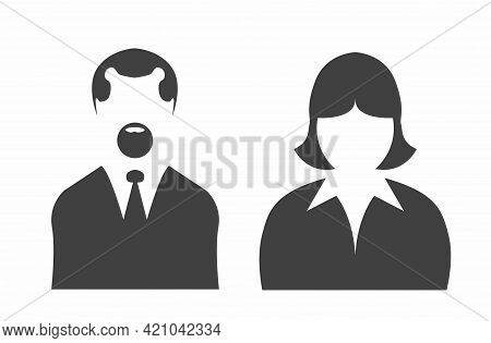 Man And Woman Avatars Set. Vector Photo Placeholder For Social Networks, Resumes, Forums And Dating