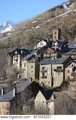 Taull, Spain, March 1, 2020 - View Of Mountain Village With Thousand Years Of History And Bell Tower