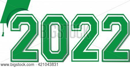 Graduation Class Of 2022 Green Graphic With Varsity Letters