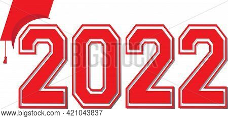 Graduation Class Of 2022 Red Logo With Cap