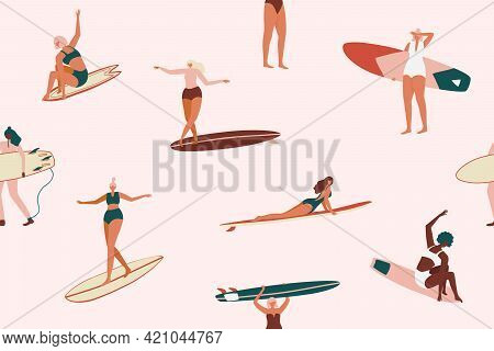 Retro Surfing Seamless Pattern In Vector. Surf Girls Character In Swimsuit With A Shortboard And Lon