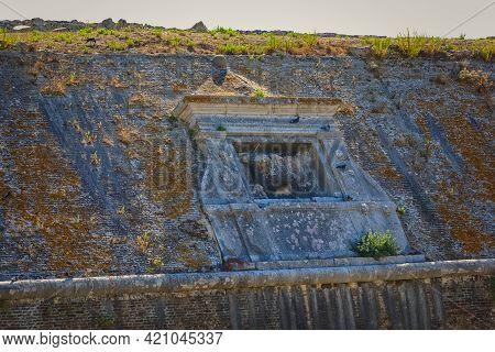 Lion Of Saint Mark Old Venetian Fortress Wall Detail In Corfu Greece