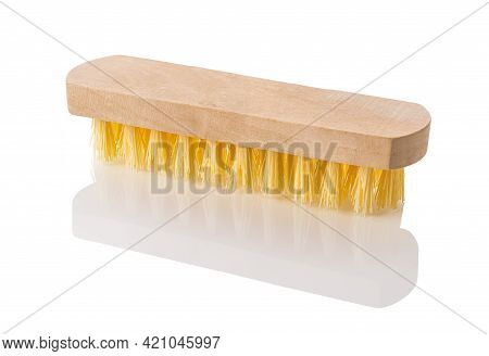 New Wooden Cleaning Brush With Yellow Coarse Stiff Bristles Isolated On White Background. Simple Too
