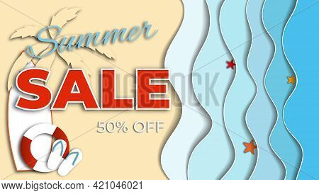 Summer Sale Banner, 50 % Off. Cut Out. Season Vocation, Weekend, Holiday. Summer Time Wallpaper. Mod