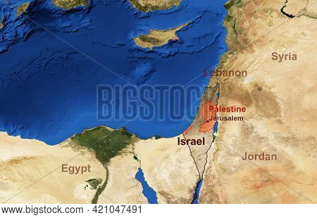 Israel And Palestine Map In Satellite Photo, Flat View Of Israeli-palestinian Conflict Territory Fro
