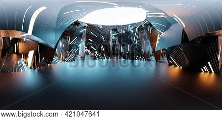 360 Full Spherical Panorama View Of Dark Futuristic Technology Conept 3d Render Illustration Hdri Hd