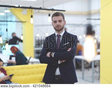 businessman portrait in modern coworking open space office