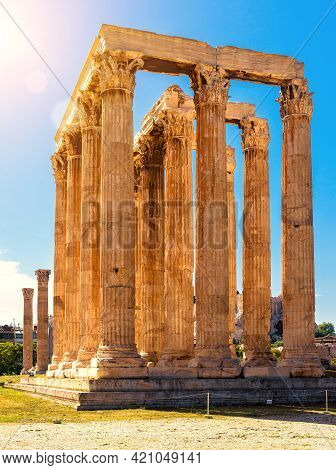 Zeus Temple In Sunlight, Athens, Greece. It Is Famous Monument And Landmark Of Athens. Sunny View Of