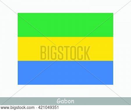 National Flag Of Gabon. Gabonaise Country Flag. Gabonese Republic Detailed Banner. Eps Vector Illust